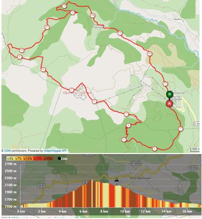 Pourcours du 17km trail disponible sur open Runner